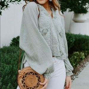 Free People Sivan Embroidered Peasant Top Moss xS